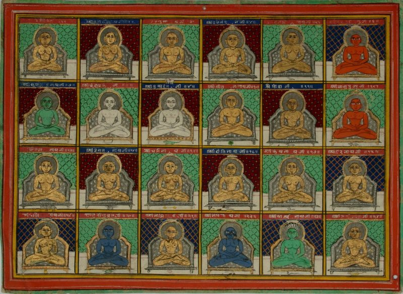 The 24 Jain Tirthankaras (or Jinas). Jaipur Circa 1850